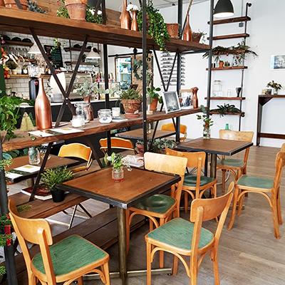 Le décor boisé et végétal de 7VB Café
